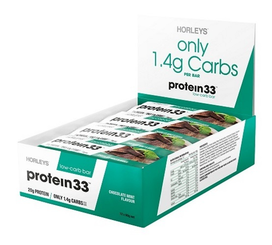 Horleys Protein 33 Low Carb Bars - Chocolate Mint (12 x 60g Pack)