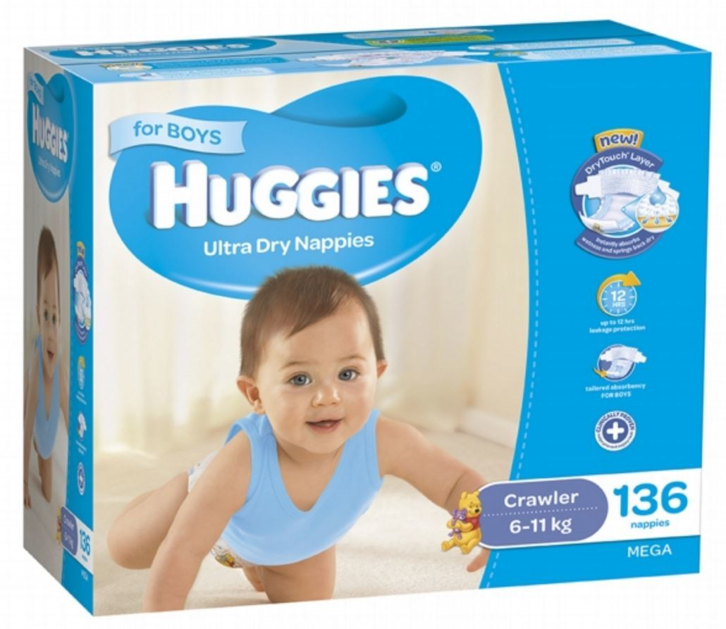 buy huggies nappies mega pack crawler boy 6 11kg 136 at mighty ape nz