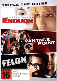 Triple The Crime (Enough, Vantage Point, Felon) on DVD