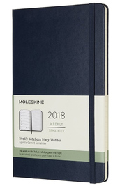 Moleskine Large Hard Cover 12 Month Weekly Planner - Sapphire Blue