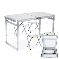 Outdoor Camping - Height Adjustable Folding Table (White) image