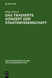 Das tradierte Konzept der Staatswissenschaften by Helge Peukert