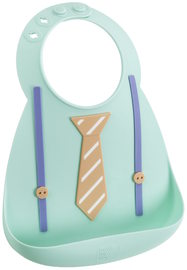 Make My Day: Silicon Baby Bib - Tie & Suspender Green
