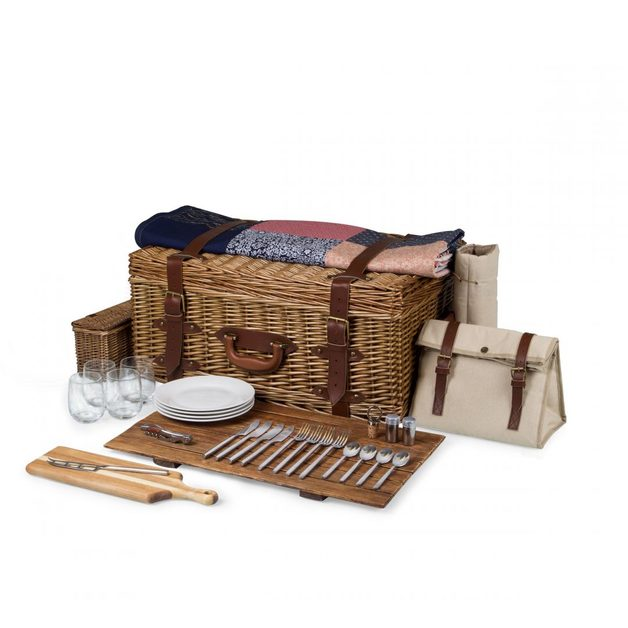 Picnic Time: Charleston Luxury Picnic Basket with Quilt (Natural Canvas)