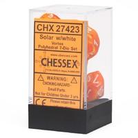 Chessex: Polyhedral Vortex Dice Set - Solar/White