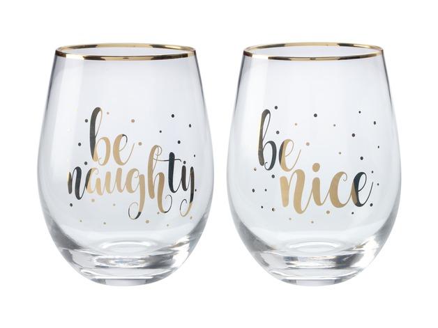 Maxwell & Williams: Celebrations Stemless Glass Set of 2 - Naughty Nice (500ml)