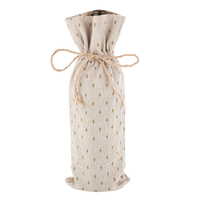 Marketplace Gold and Cream Jute Wine Sack