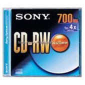 Sony CD-RW Rewritable CDRW700SHS 80 Min; CD-RW;  700MB; SONY; HIGH SPEED 4X-10X; Branded; Jewel  Case