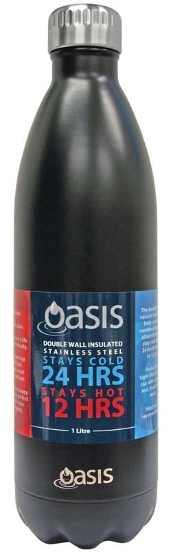 Oasis Insulated Stainless Steel Drink Bottle - Matte Black (1L)