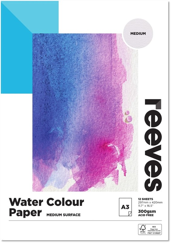 Reeves: Watercolor Pad 300gsm A3 Cold Pressed - 12 Sheets