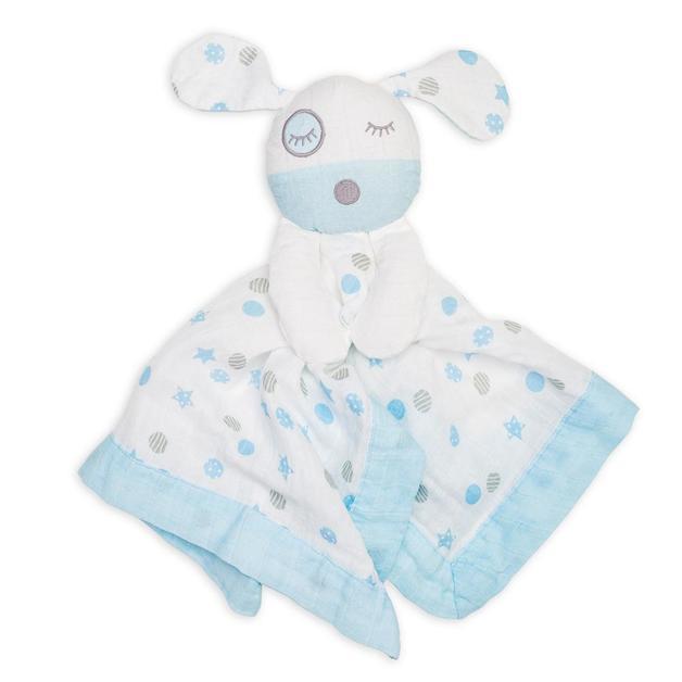 Lulujo: Cotton Muslin Lovie - Blue Puppy