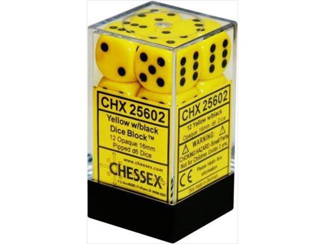 Chessex: D6 Opaque Cube Set (16mm) - Yellow/Black image