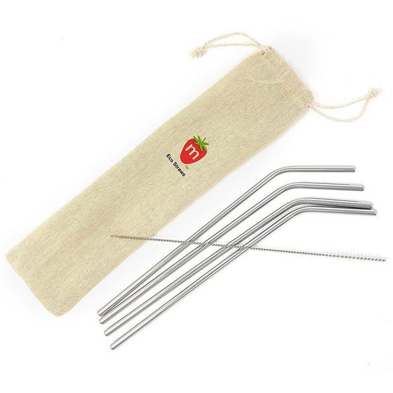 Munch Reusable Metal Straws (4 Pack + Brush)