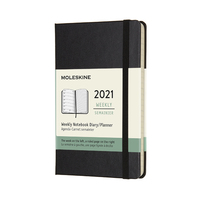 Moleskine: 2021 Diary Pocket Hard Cover 12 Month Weekly - Black