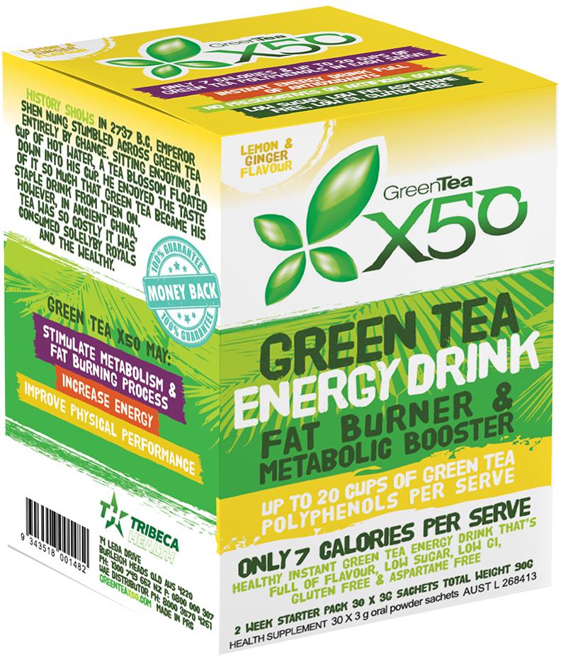 Green Tea X50 - Lemon & Ginger (30 Sachets) image