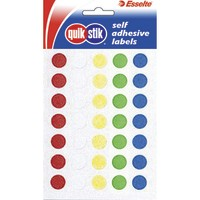 Quik Stik Labels Flat Pack Circle 14mm Assorted Colours Pkt112
