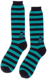Sourpuss: Stripped Skull Socks - Black/Teal