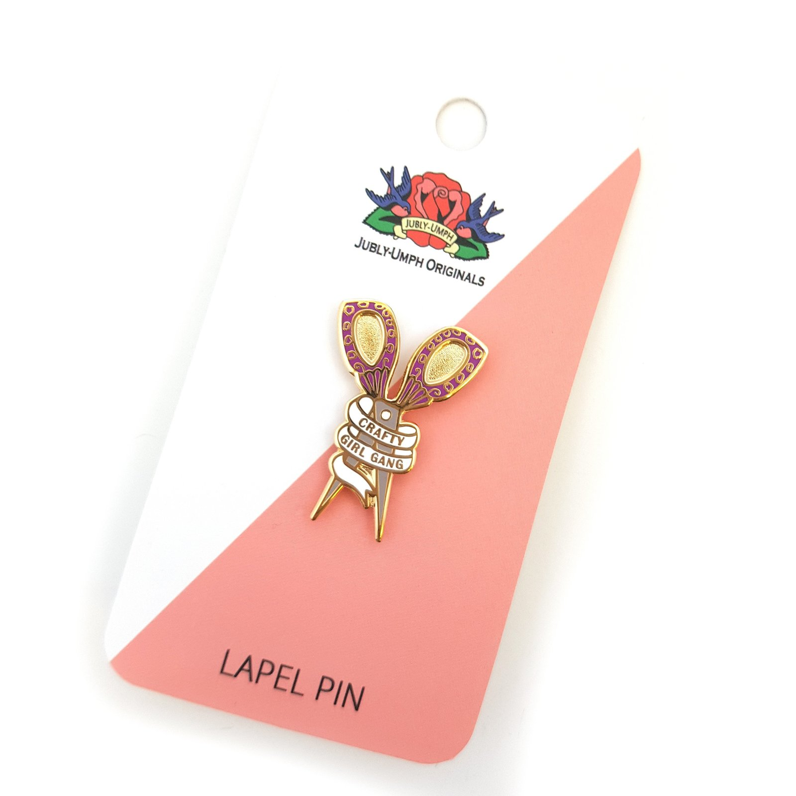 Jubly-Umph Crafty Girl Gang Scissors Lapel Pin (purple) image