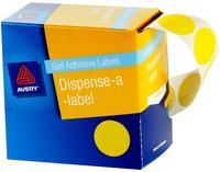 Avery Yellow 24mm Diameter Circle Dispenser Labels Pkt500