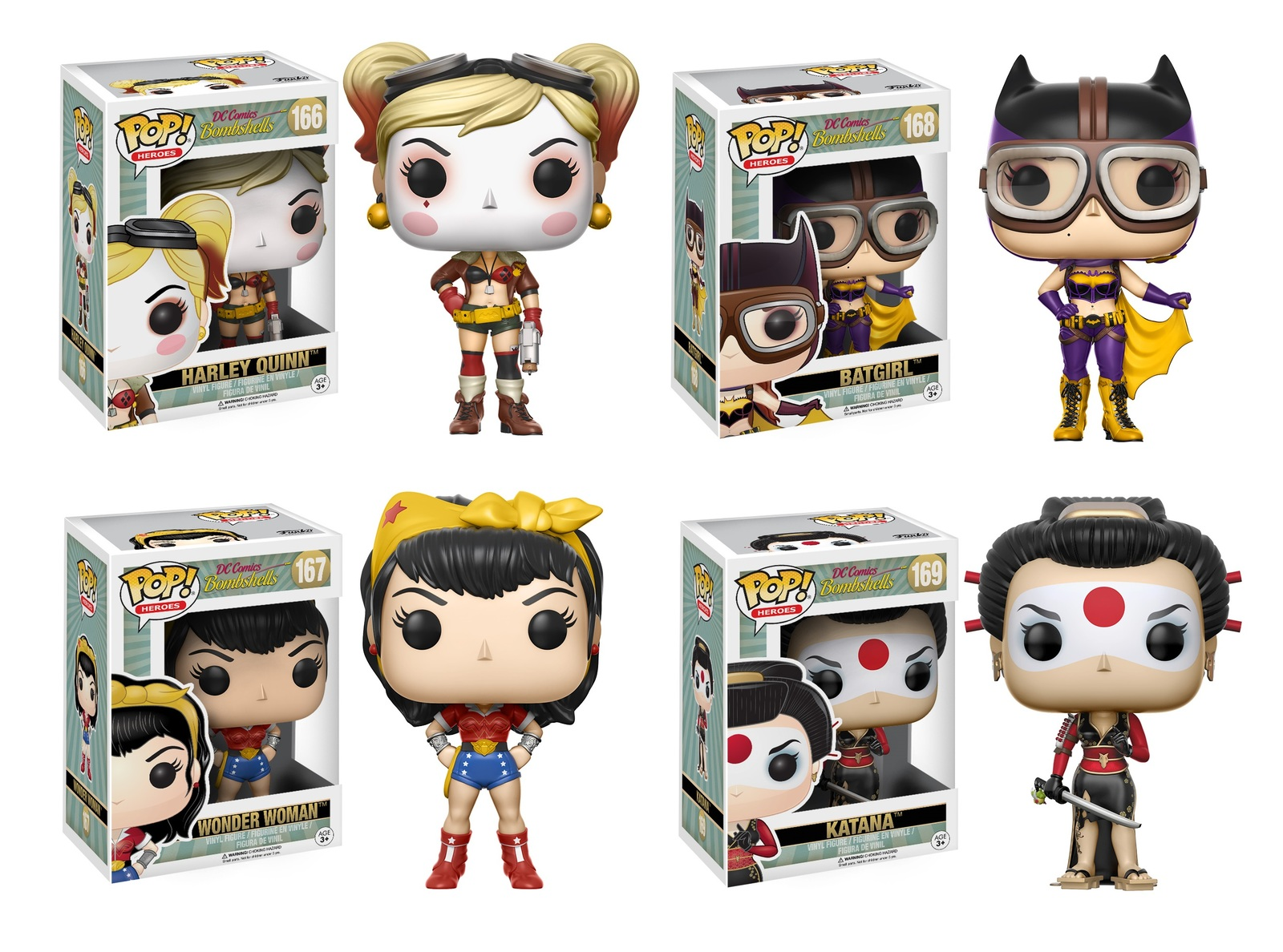 Harley Quinn Bombshells DC Comics POP Heroes #166 Vinyl Figur Funko