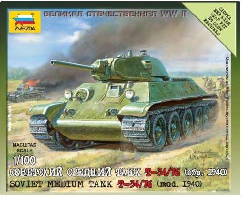 Zvezda 1/100 Soviet T-34/74 (Mod 1940)