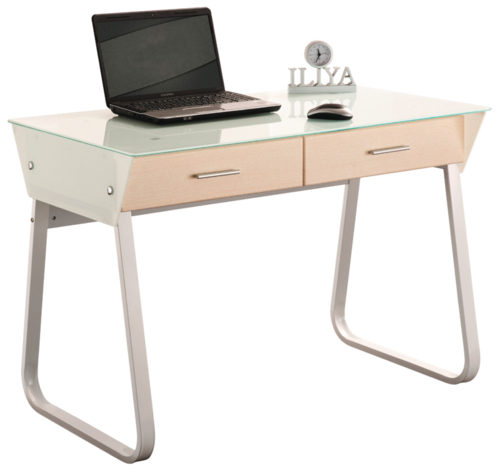 Croxley 2-Drawer Glass Top Computer Desk (White Frame) image