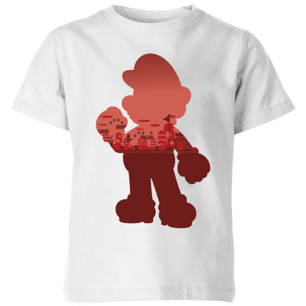 Nintendo Super Mario Mario Silhouette Kids' T-Shirt - White - 7-8 Years image
