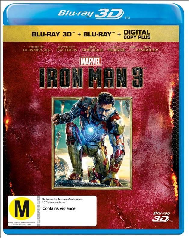 Iron Man 3 on Blu-ray, 3D Blu-ray, DC+