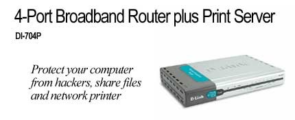 D-Link DSL/Cable Router, Print Server, 4 Port Switch