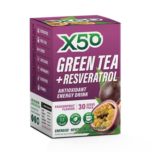 Green Tea X50 + Resveratrol - Passionfruit (30 Sachets)