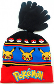 Pokemon Knit Beanie and Gloves Set