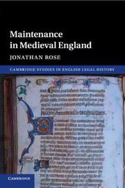 Cambridge Studies in English Legal History by Jonathan Rose