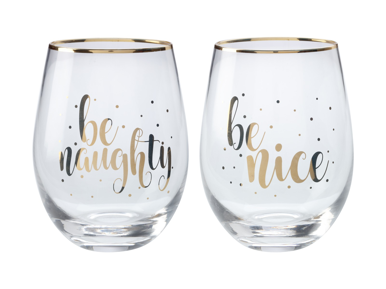 Maxwell & Williams: Celebrations Stemless Glass Set of 2 - Naughty Nice (500ml) image