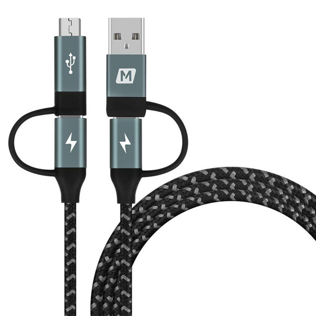 Momax: ONE Link 1.2m 4 in 1 Nylon Braided Type-C PD Cable - Grey