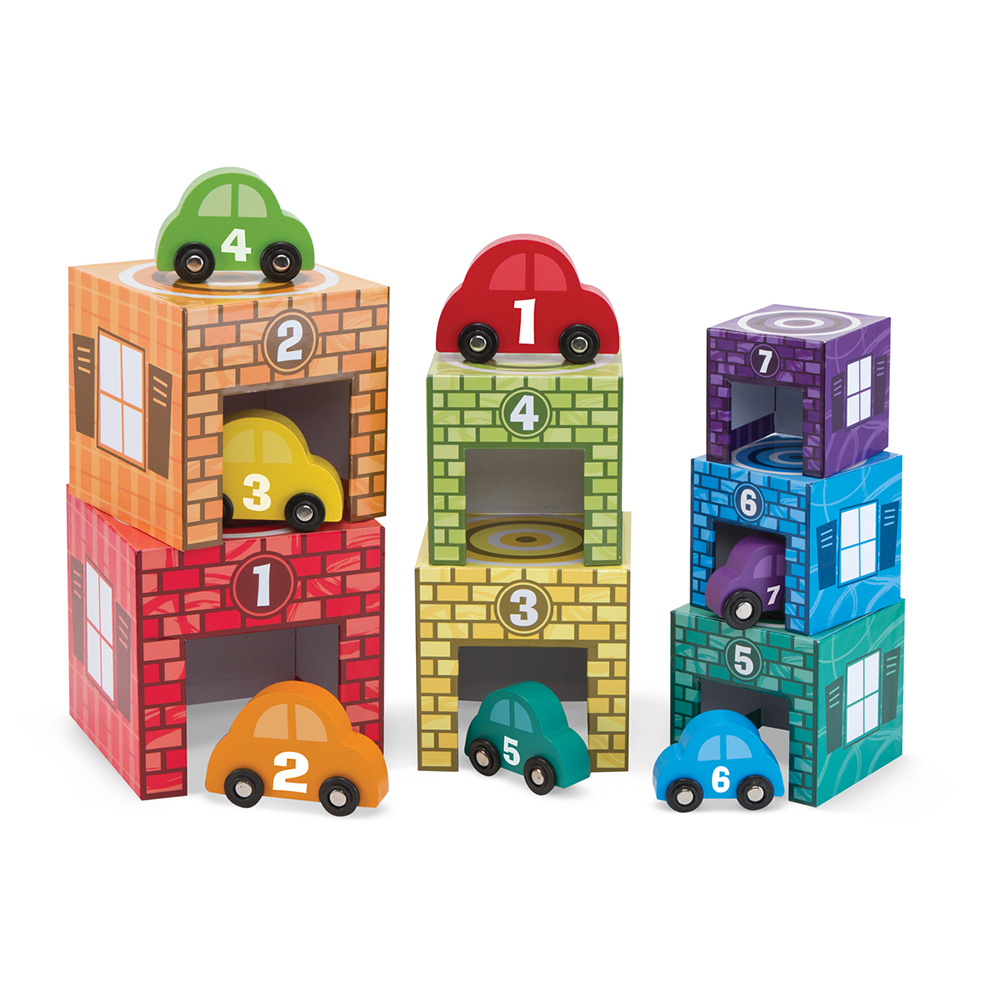 Melissa & Doug: Nesting and Sorting Garages and Vehicles image