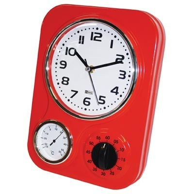 Kitchen Wall Clock - Retro Metal - Red | at Mighty Ape NZ