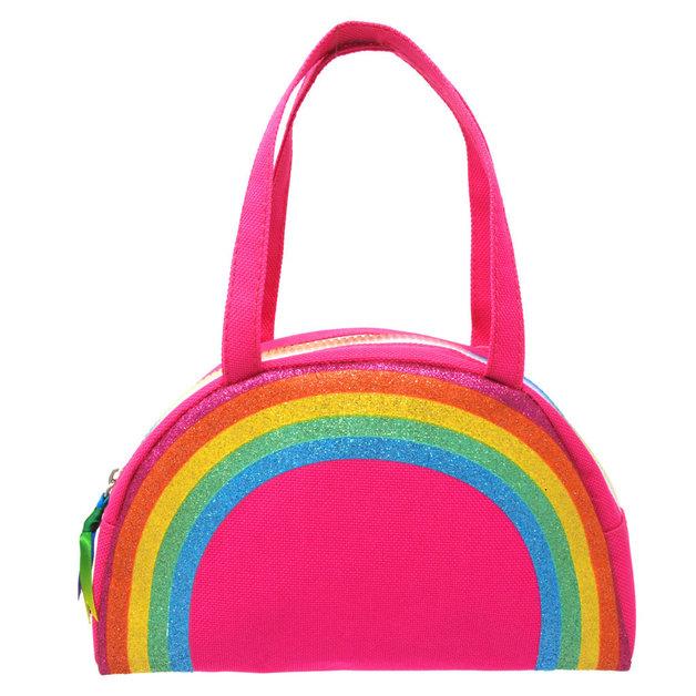 Pink Poppy: Raining Rainbows Bowling Bag - Pink