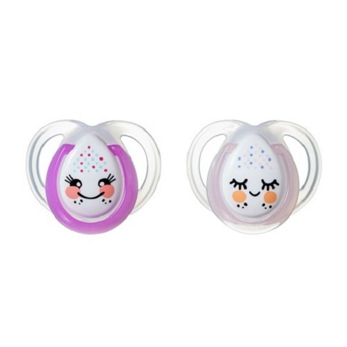 Closer to Nature: Night Time Soothers Twin Pack - 0-6m (Pink and Purple)