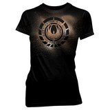 Battlestar Galactica Phoenix Crest Women's Black T-Shirt (Small)
