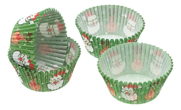 KitchenCraft: Sweetly Does It Cake Case - Santa (Pack of 60)