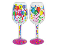 Bottom's Up Wine Glass - Happy Birthday to You