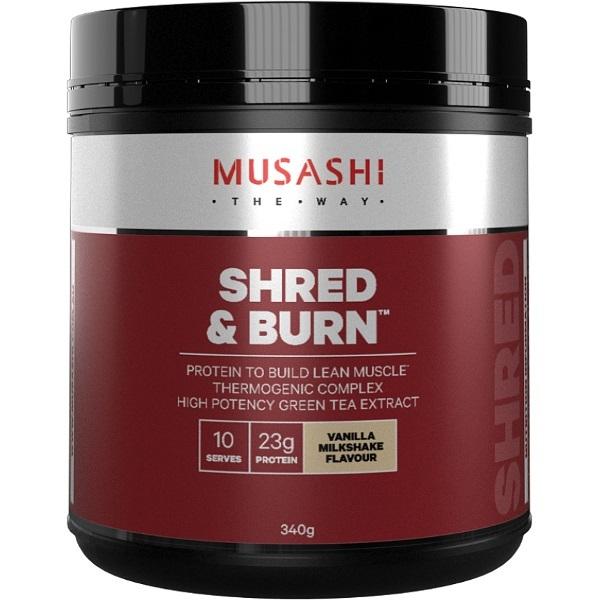 Musashi Shred & Burn Protein Powder - Vanilla Milkshake (340g) image