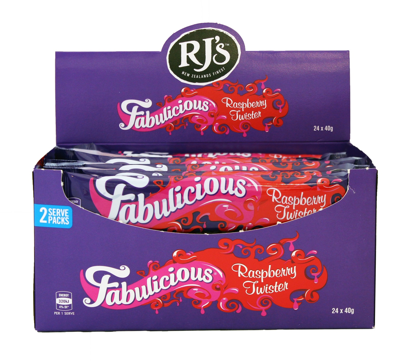 RJs Fabulicious Raspberry Twist 40g (24 Pack) image