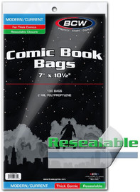 "BCW: Resealable Comic Book Bags - Thick Current (7"" x 10.5"")"