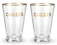 Twine: Rustic Farmhouse - Gold Rimmed Pint Glass Set - (Cheers)
