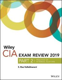 Wiley CIA Exam Review 2019, Part 2 by S.Rao Vallabhaneni