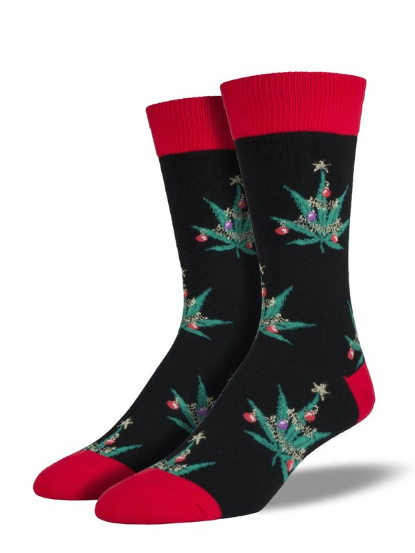 Socksmith: Mens Pot Lovers Xmas Christmas Crew Socks - Black