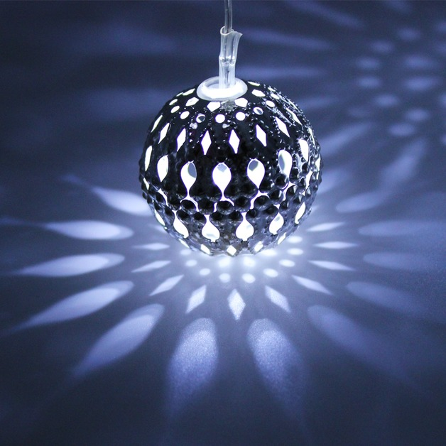 Solar String Lights - 20 LED Morrocan Ball Lights (Cool White)