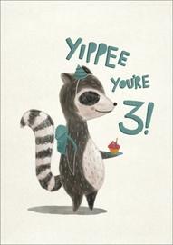 Oh Deer: Birthday Racoon 3rd Birthday Greeting Card image