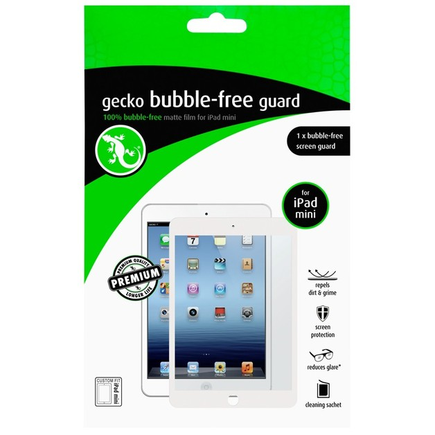 Gecko Bubble Free Screen Guard for iPad mini - White